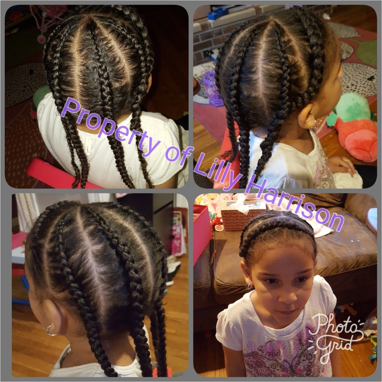 Braided headband and 4 corn rolls down the back