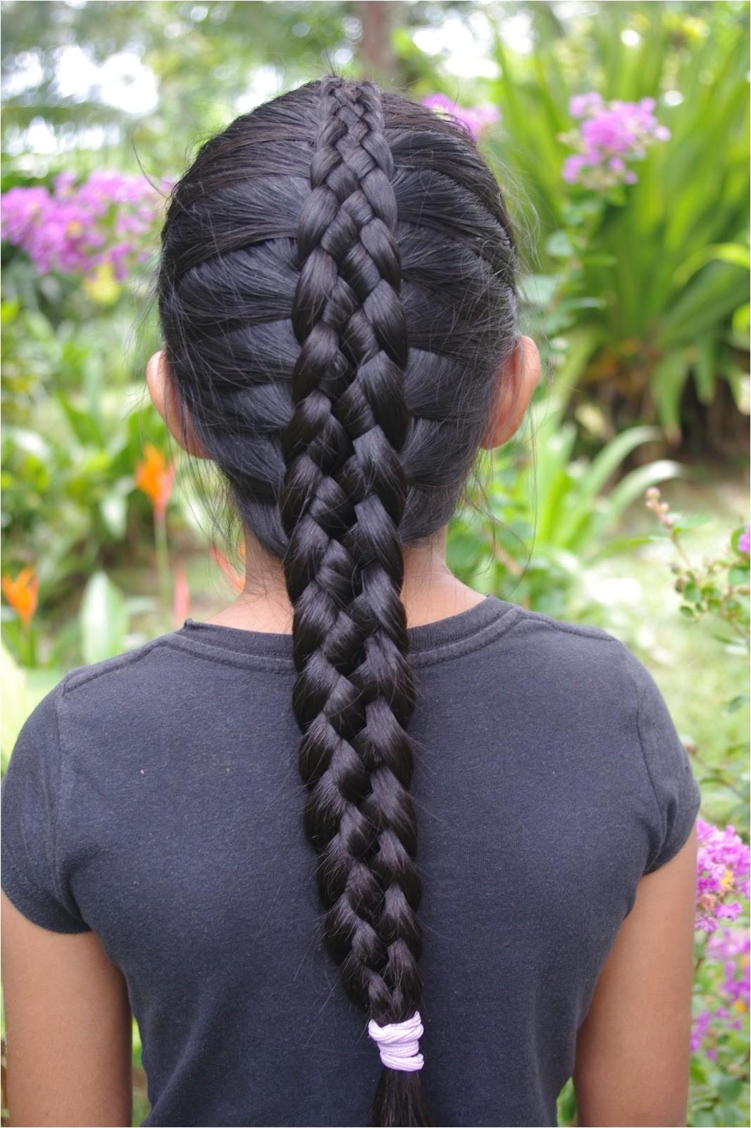 micronesian girl 6 strand french braid