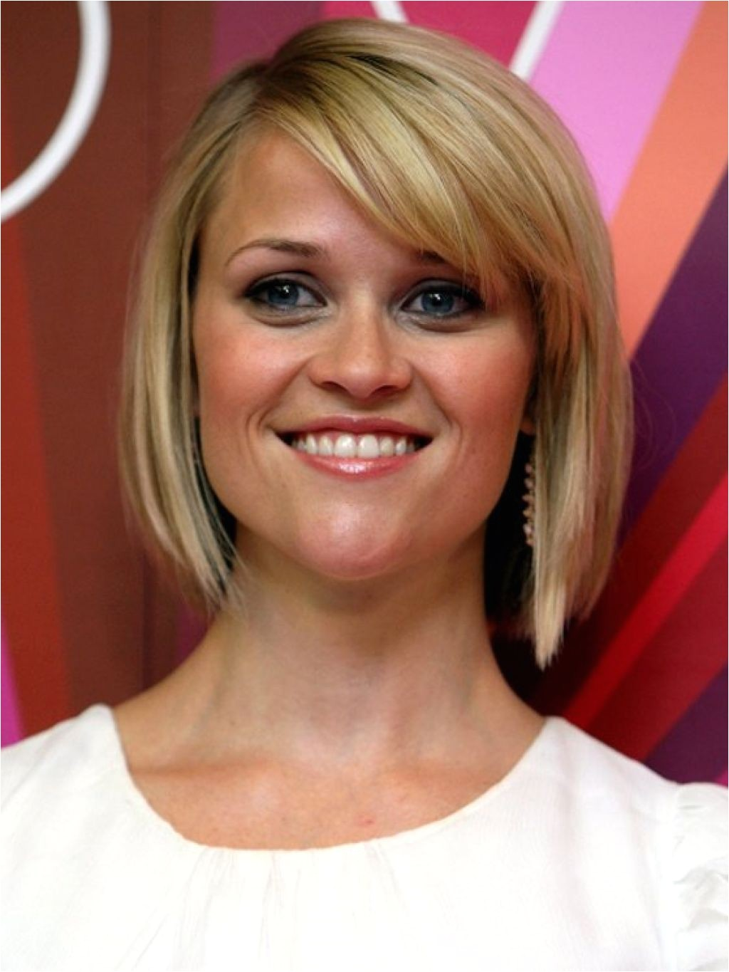 long angled bob with fringe