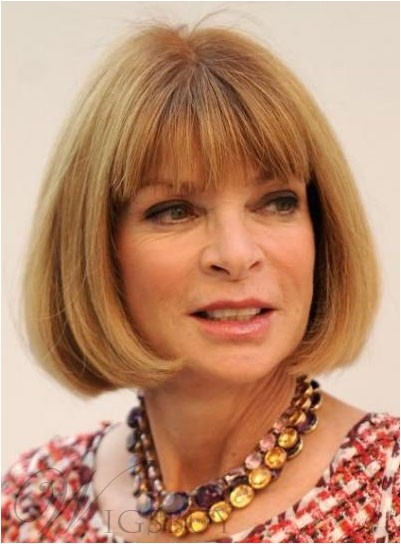 Anna Wintour Hairstyle Short BOB Synthetic Hair Capless Wig 10 Inches