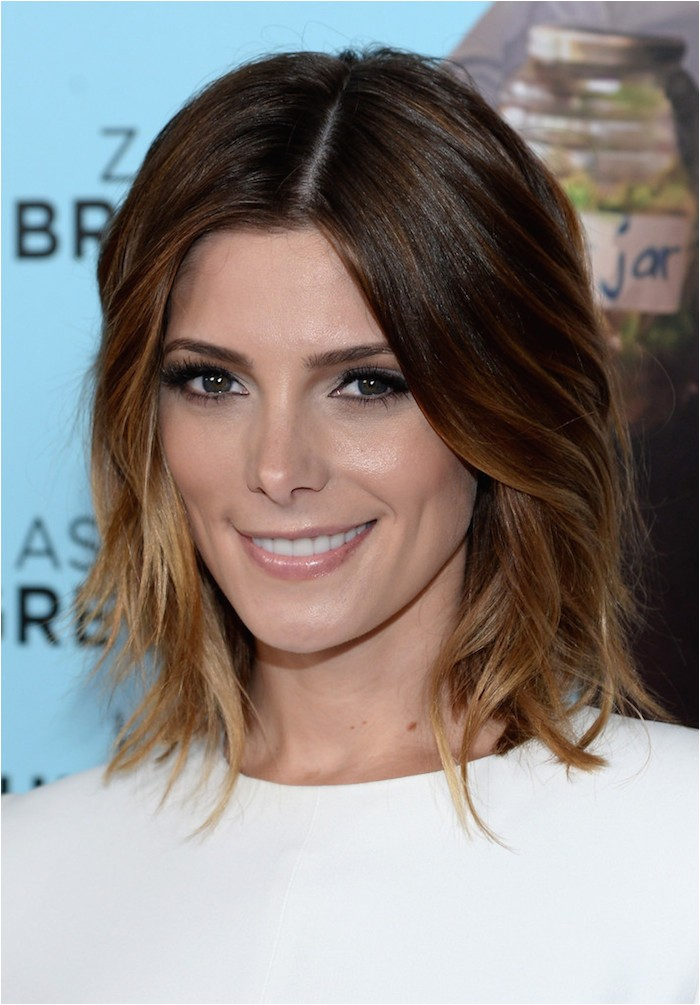great cut color bo ashley greenes layered bob with caramel ombre