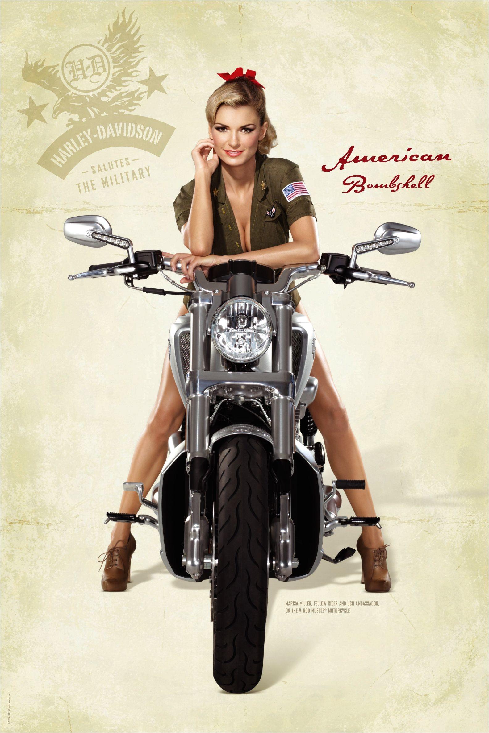 Marisa Miller on a V rod Muscle Harley