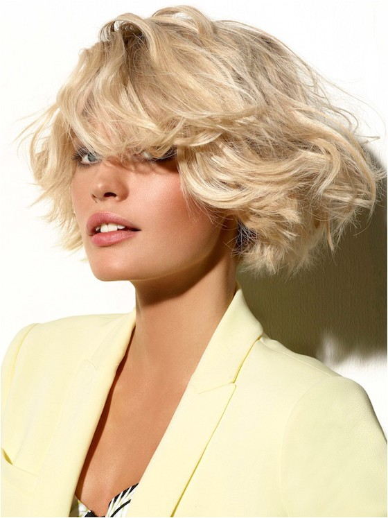 blonde bob haircut with bangs I