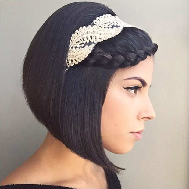 Bob Haircut with Headband Trubridal Wedding Blog