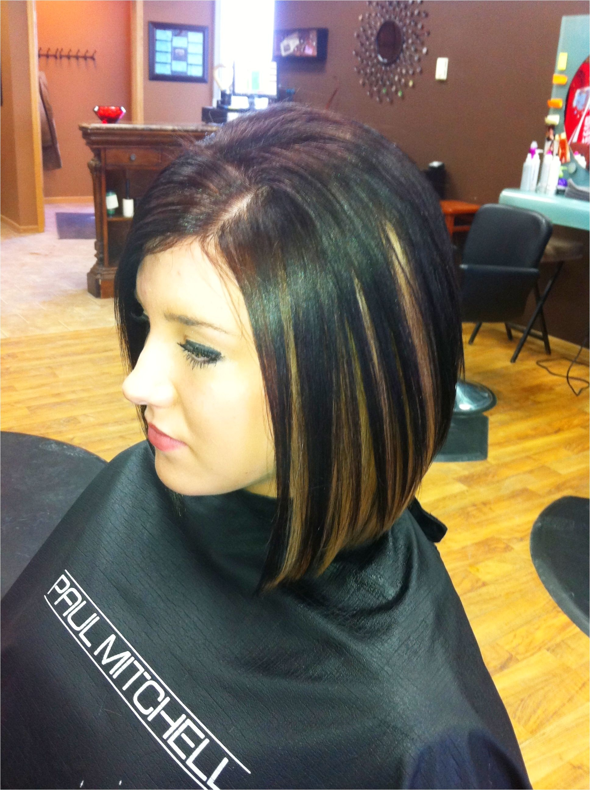 Bob Haircut with Peekaboo Highlights 1