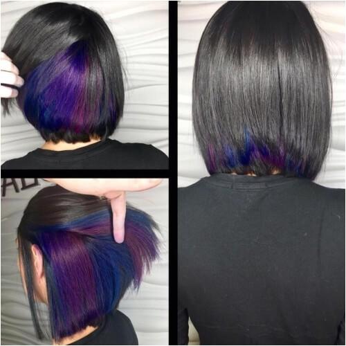 peekaboo highlights with long bob haircut