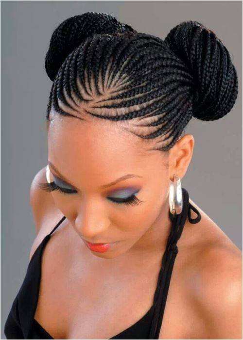 black braided hairstyles bun