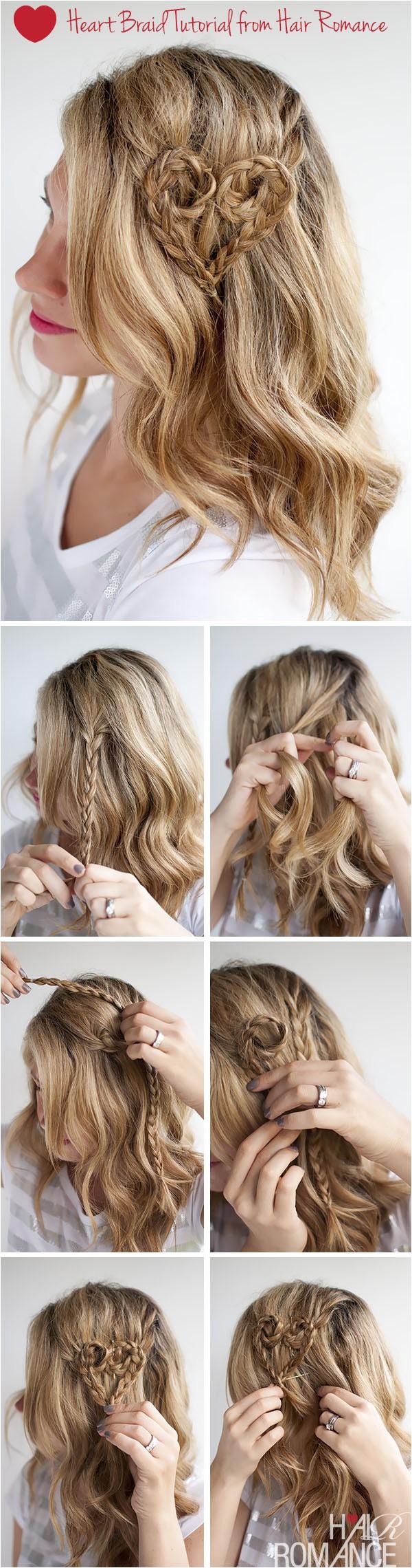 valentines day hairstyle tutorial heart braid hairstyle