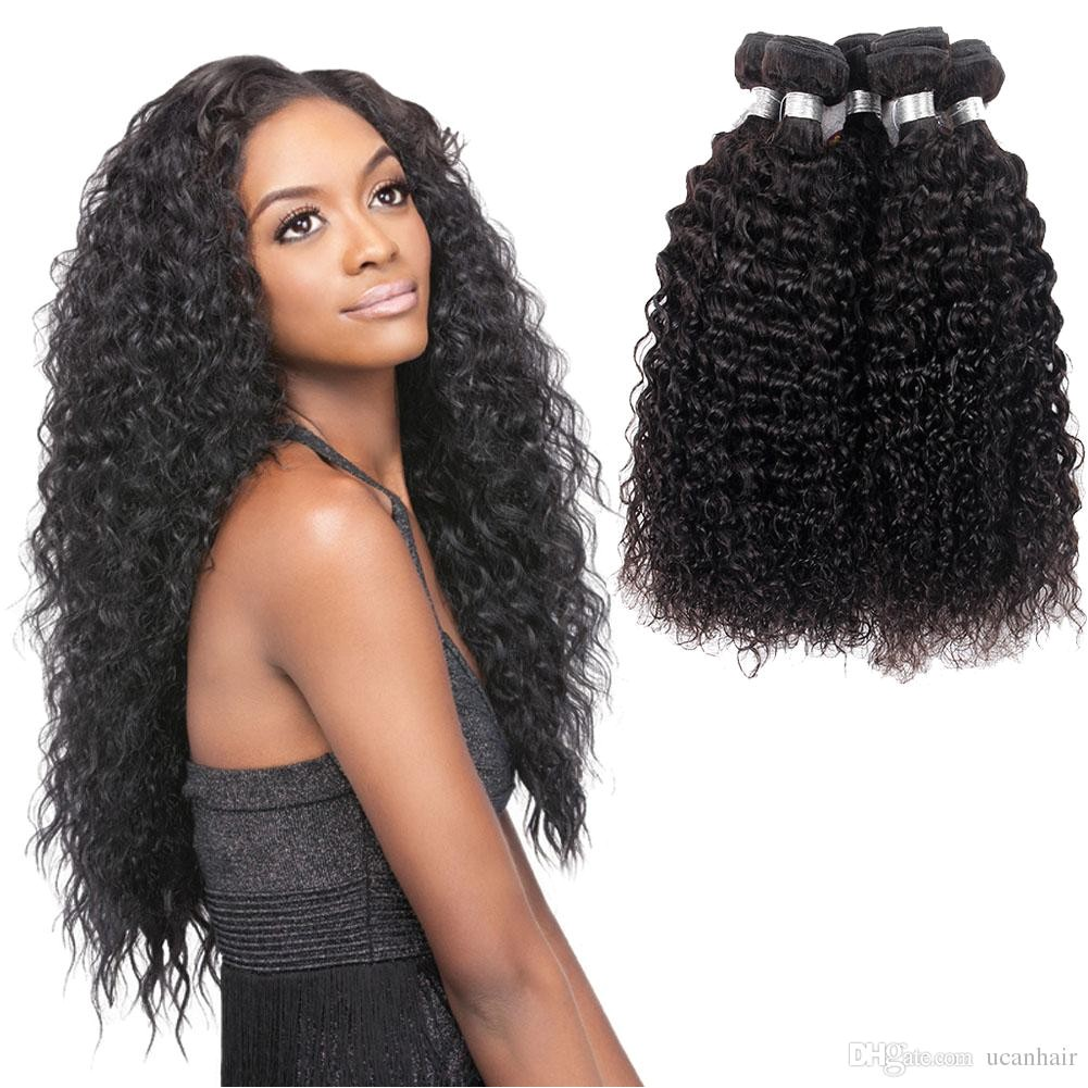 8A Brazilian Deep Wave Human Hair Bundles Kinky Curly Weave Weft Peruvian Malaysian Indian Virgin Hair Deep Curly Hair Extensions Curly Hair Curly Hair