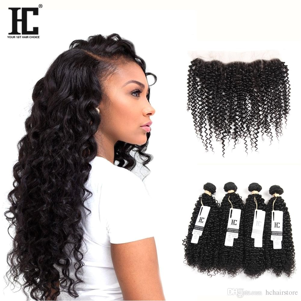 Hc Brazilian Curly Virgin Hair With Lace Frontal Brazilian Kinky Curly Weave With Frontal 4bundles Brazilian Virgin Hair With Lace Frontal Closure Wigs Hair