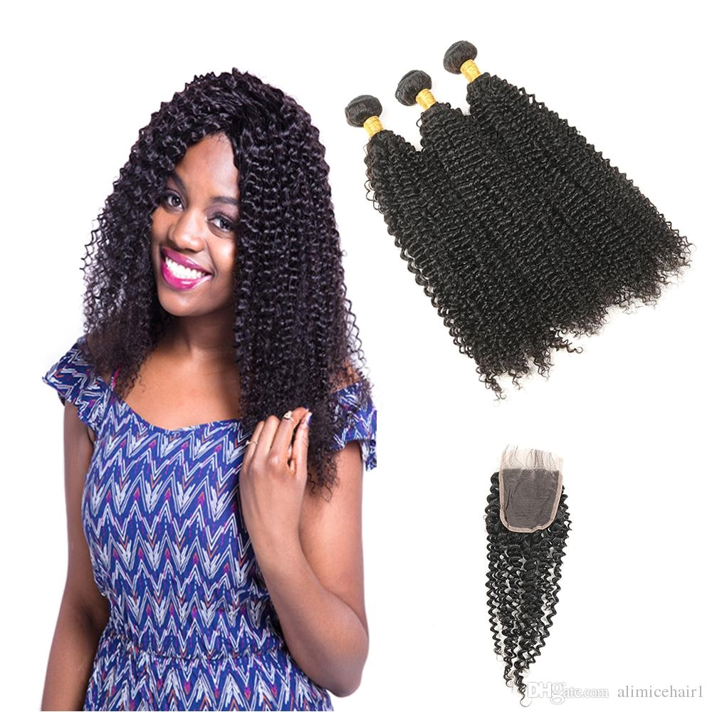 Kinky Curly Weave Human Hair Bundles With Closure Brazilian Hair Weave 3 Bundles With Closure Non Remy Hair Extension Curly Weave Curly Weave Hair From