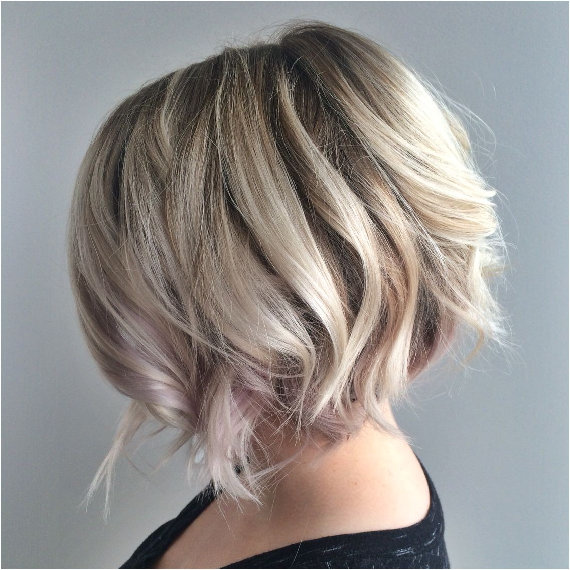 Blonde textured Bob with undercut Platinum Blonde Blonde Balayage Blonde highlights Ashy blonde