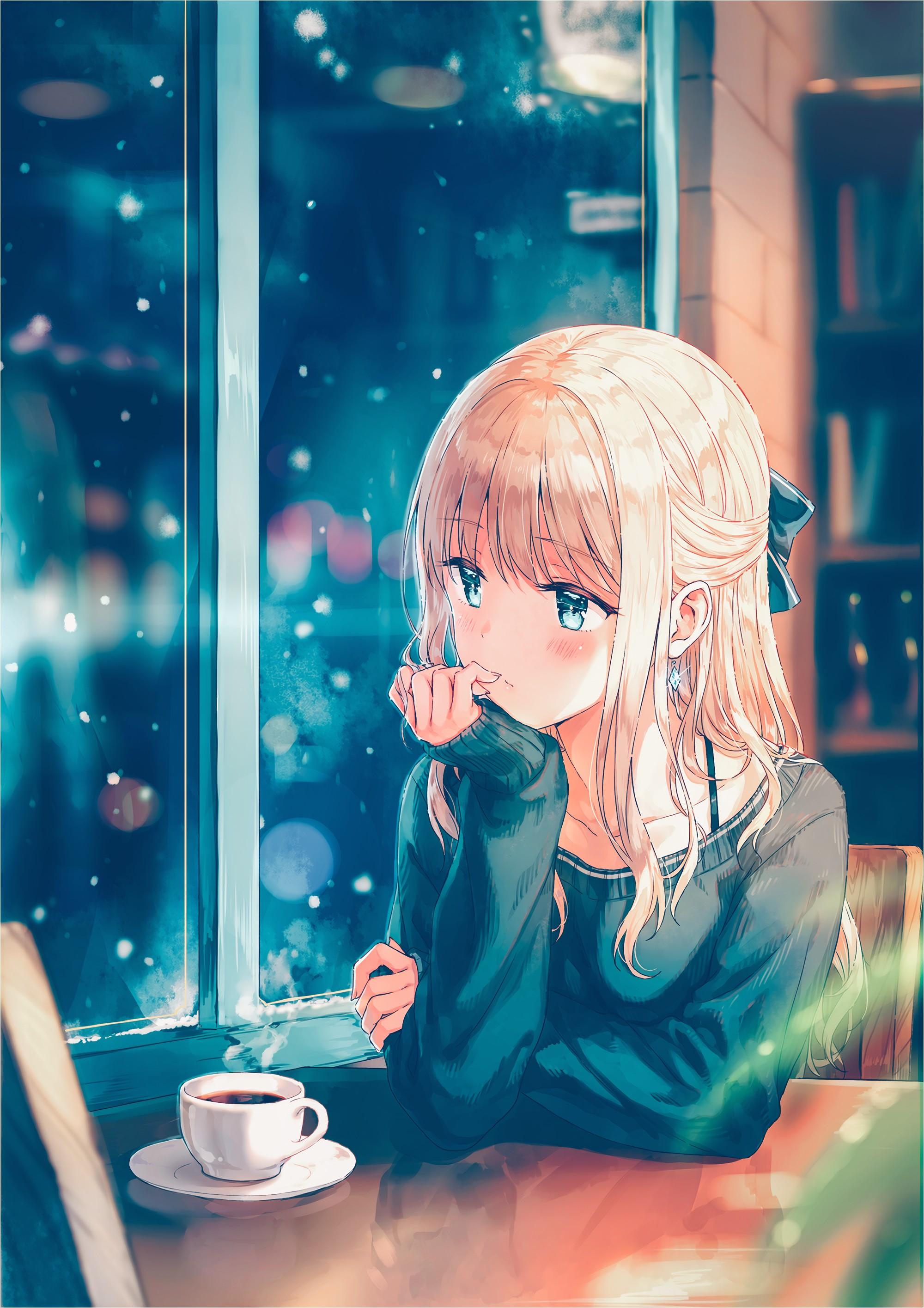 Anime 2000x2830 anime anime girls long hair blonde sweater snow aqua eyes coffee