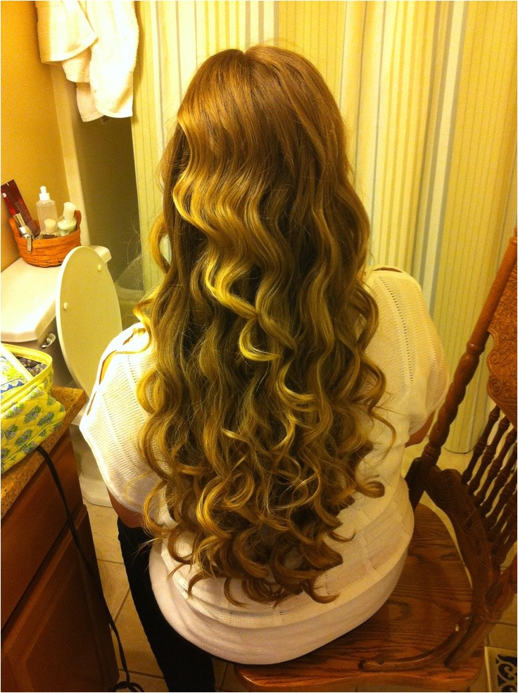 curling long hair with wand