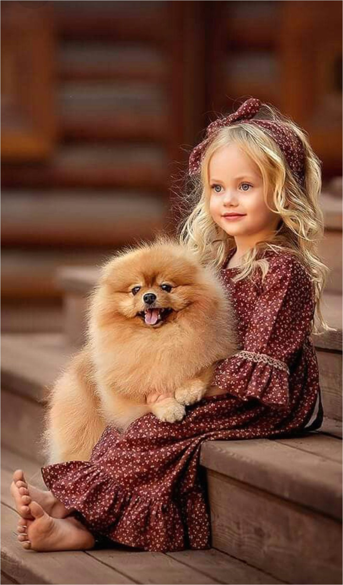 cute and pretty pet with kid