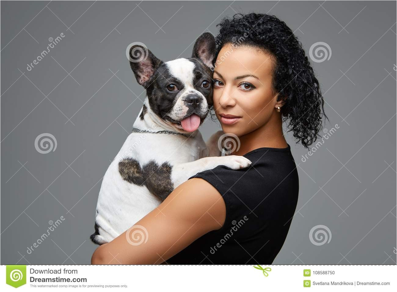 Download Young Woman With French Bulldog Dog Stock Image of afro girl