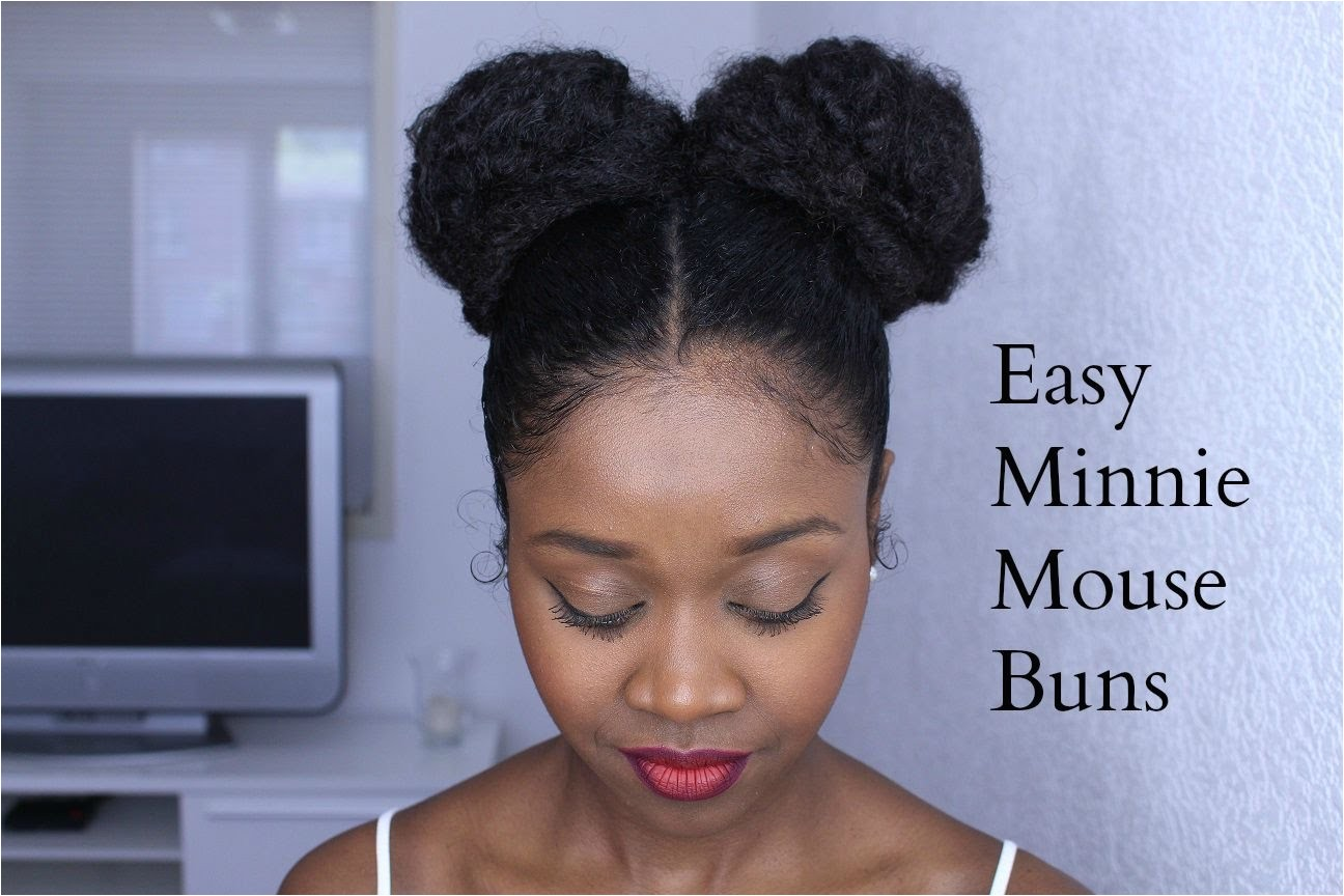 Model hairstyles for Mickey Mouse Hairstyle Easy Minnie Mouse Buns on Natural Hair protective hairstyle