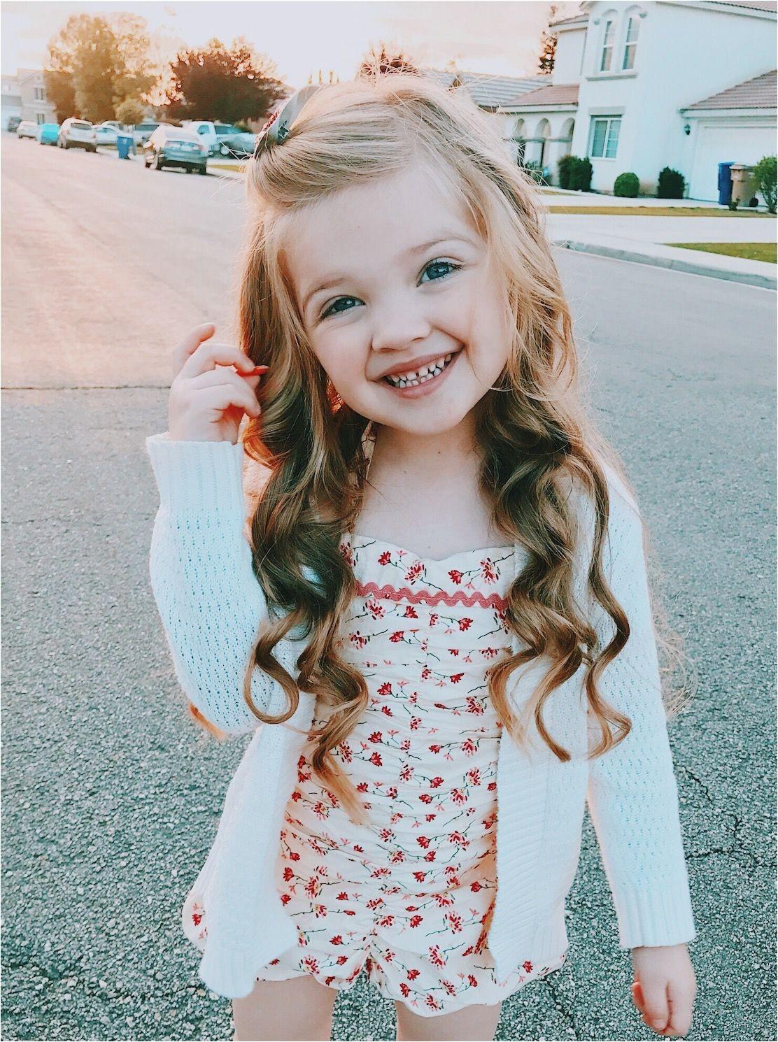 Little girl hairstyle long hair curls curled wavy beach waves