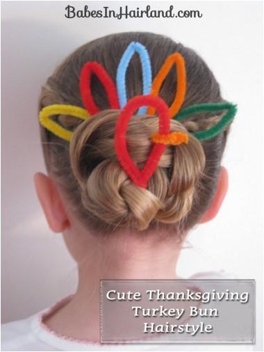 thanksgiving turkey bun hairstyle