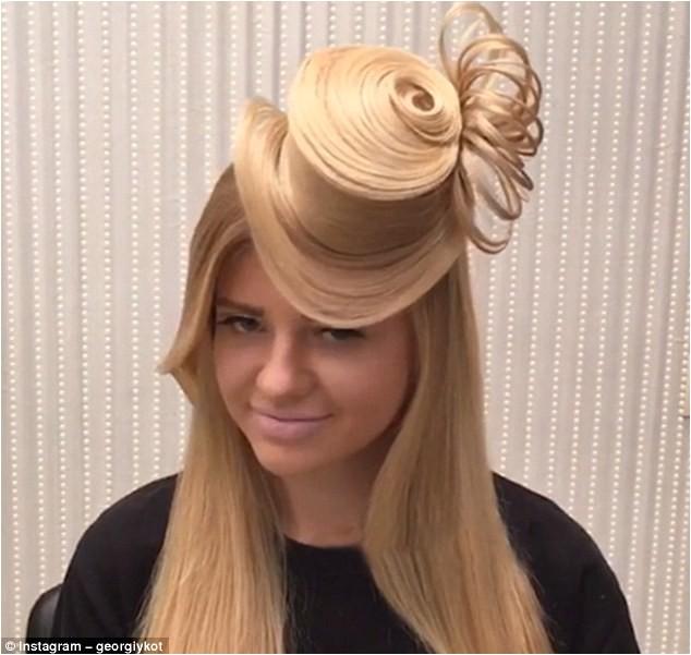 Bizarre new hairstyle sees model s locks transformed gravity defying HAT Instagram sensation