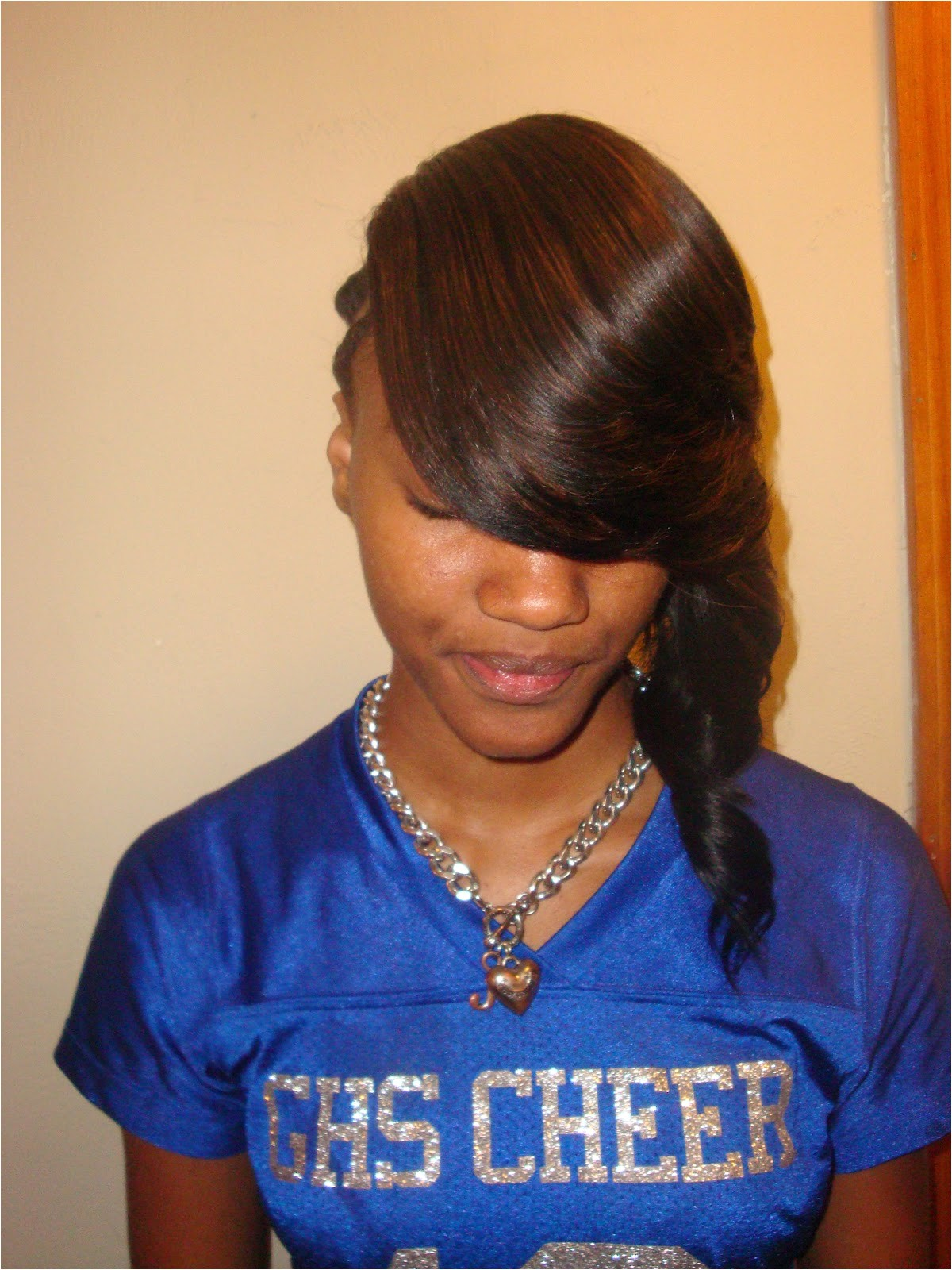 invisible part quick weave with side bang