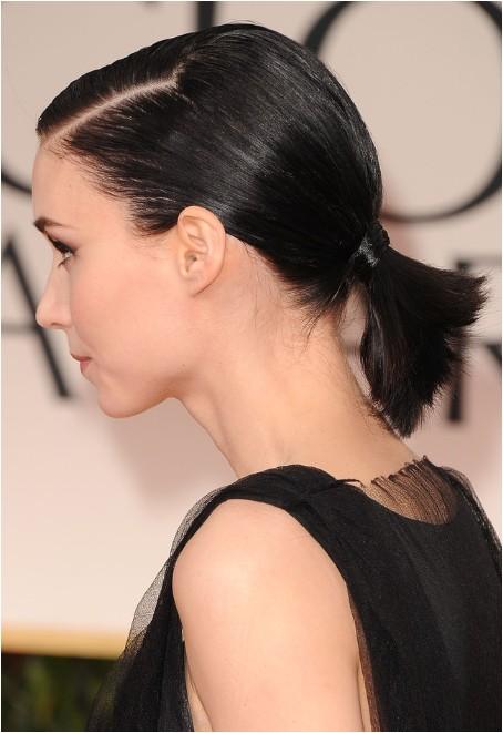 rooney mara short haircut cute black ponytail