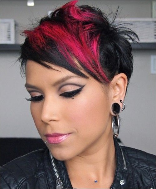 cute short hair with red block color
