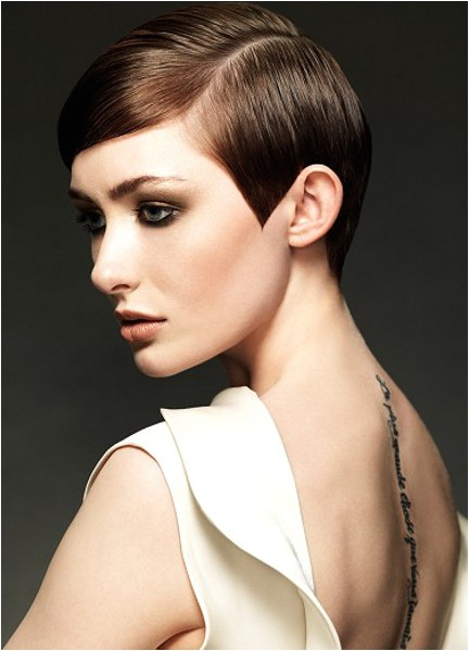 pixie haircut with a deep side part I