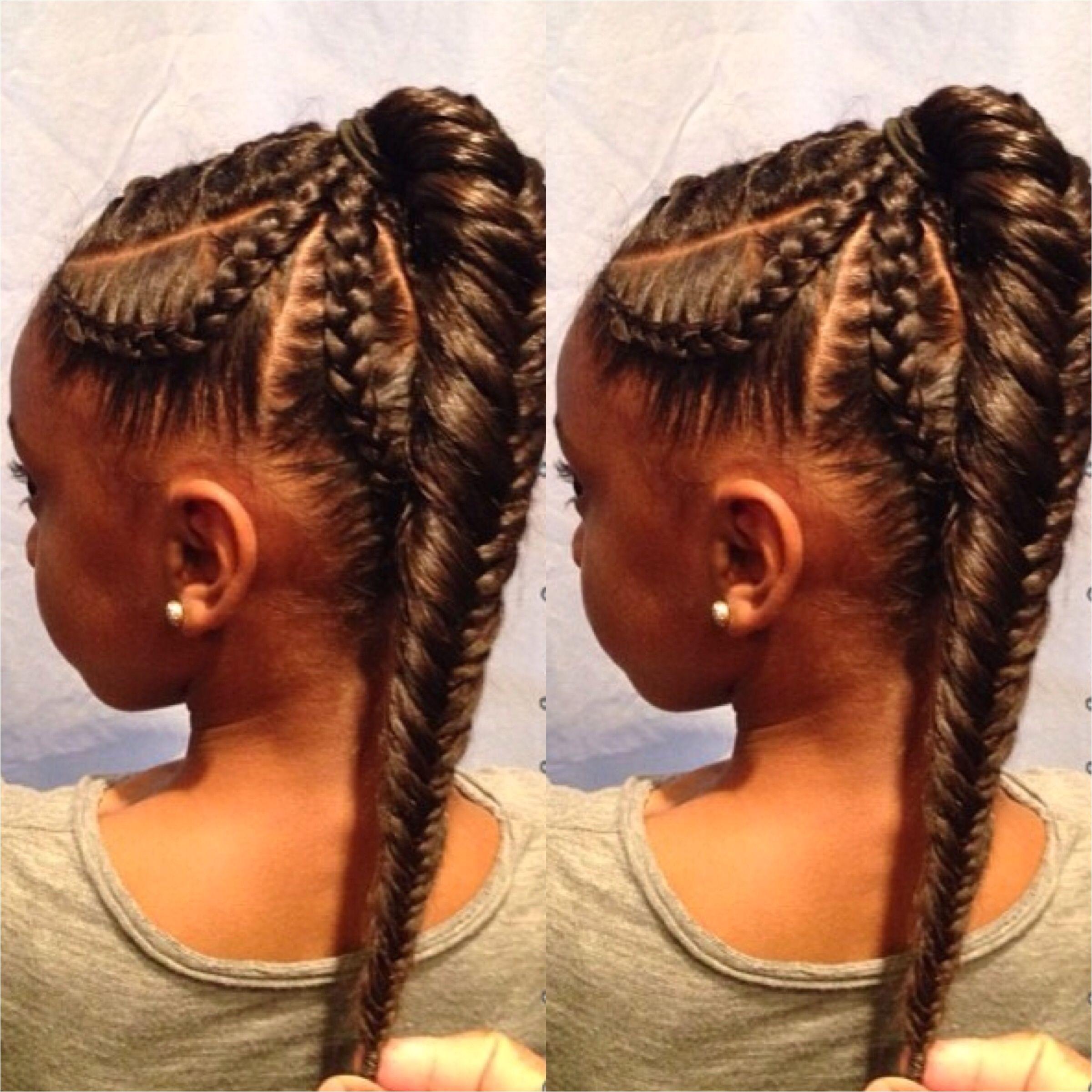 5 braid cornrow fishtail ponytail Black girl hairstyles