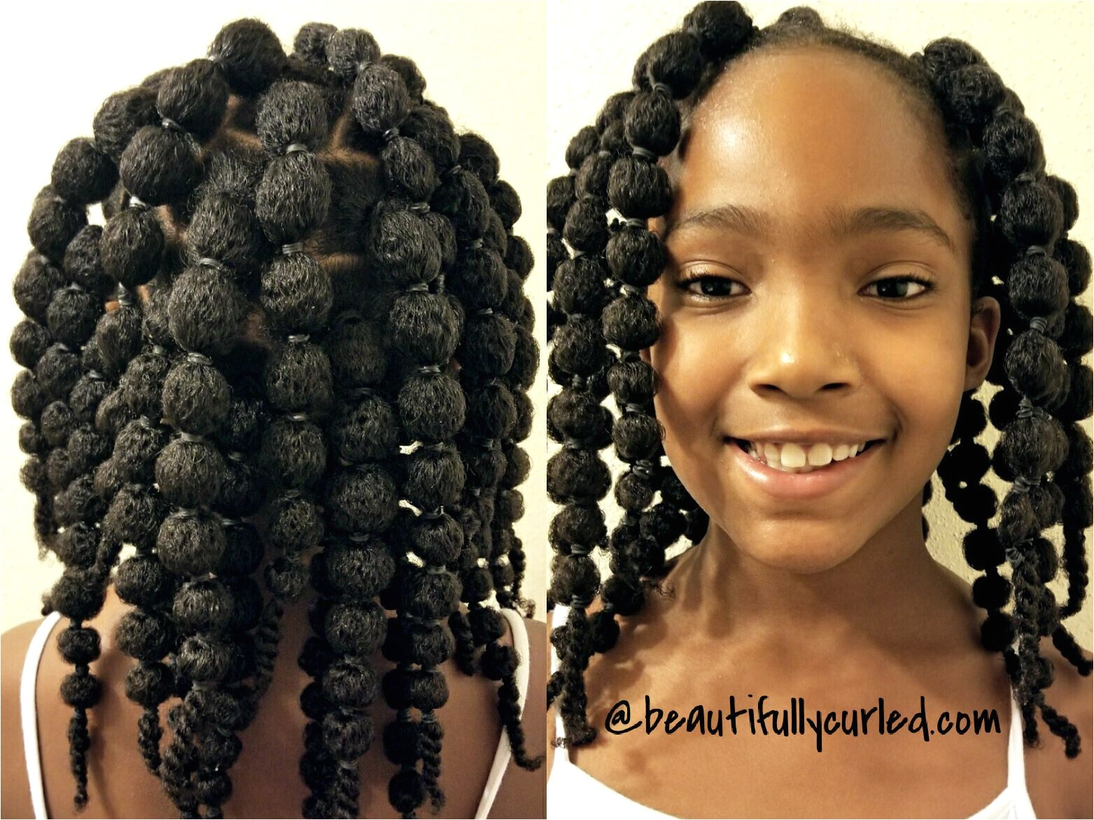 Cute and easy hair puff balls hairstyle for little girls to see the process