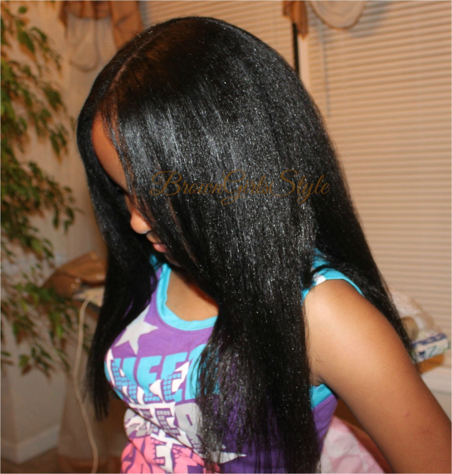 little black girls natural hair flat ironed back to school washday