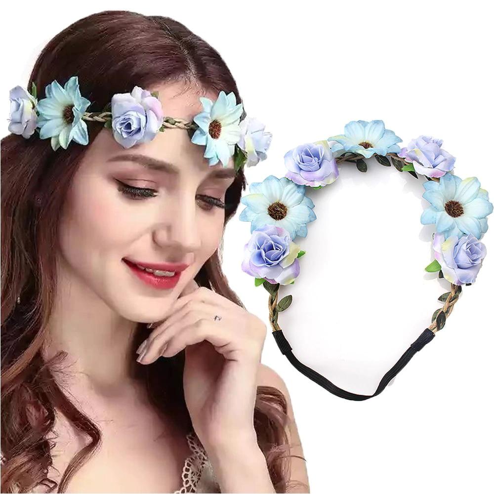 Flower Girl Hairstyles with Headband Fashion Women Bride Flowers Headband Bohemian Style Rose Flower