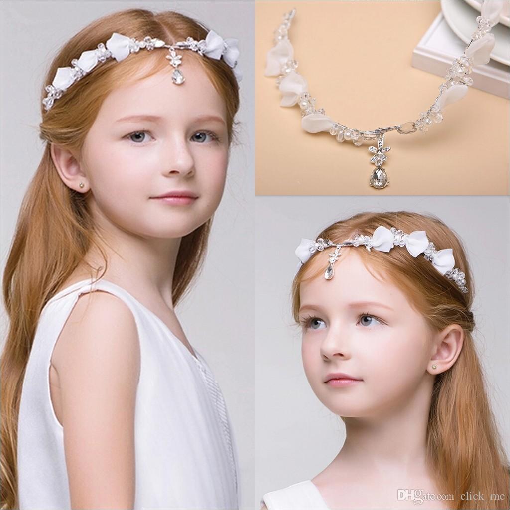Newest Junior Bridesmaid Bride Accessories Headband Hairwear Crystal Children Hair Wedding Accessories Rhinestone Girls Head Pieces Baby Girl Head Baby