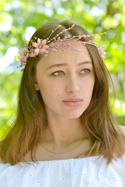 Rustic crown bridal Beige floral crown branches head piece elven wedding crown Flowers halo rustic headband