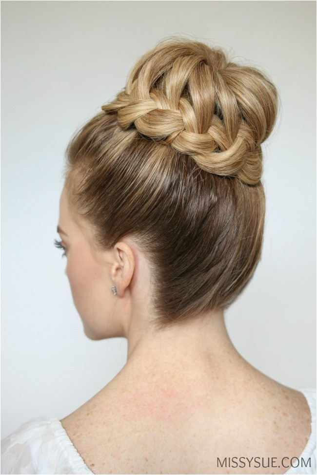 french braid high bun