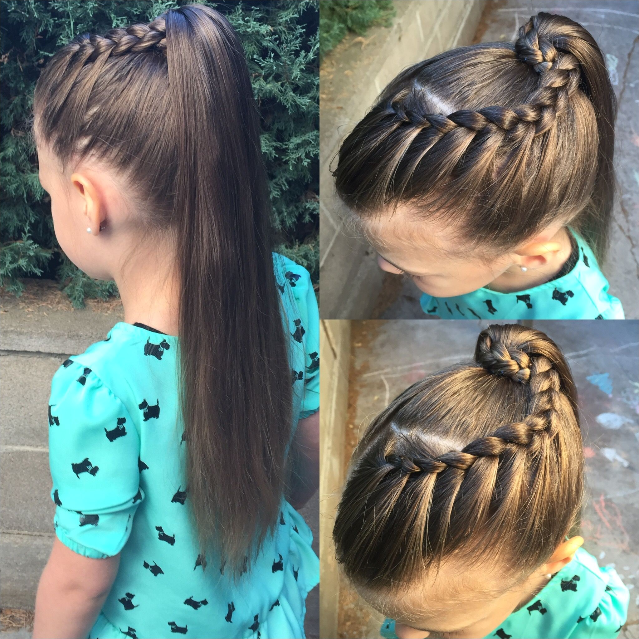 Front french braid wrapped around a very high pony tail