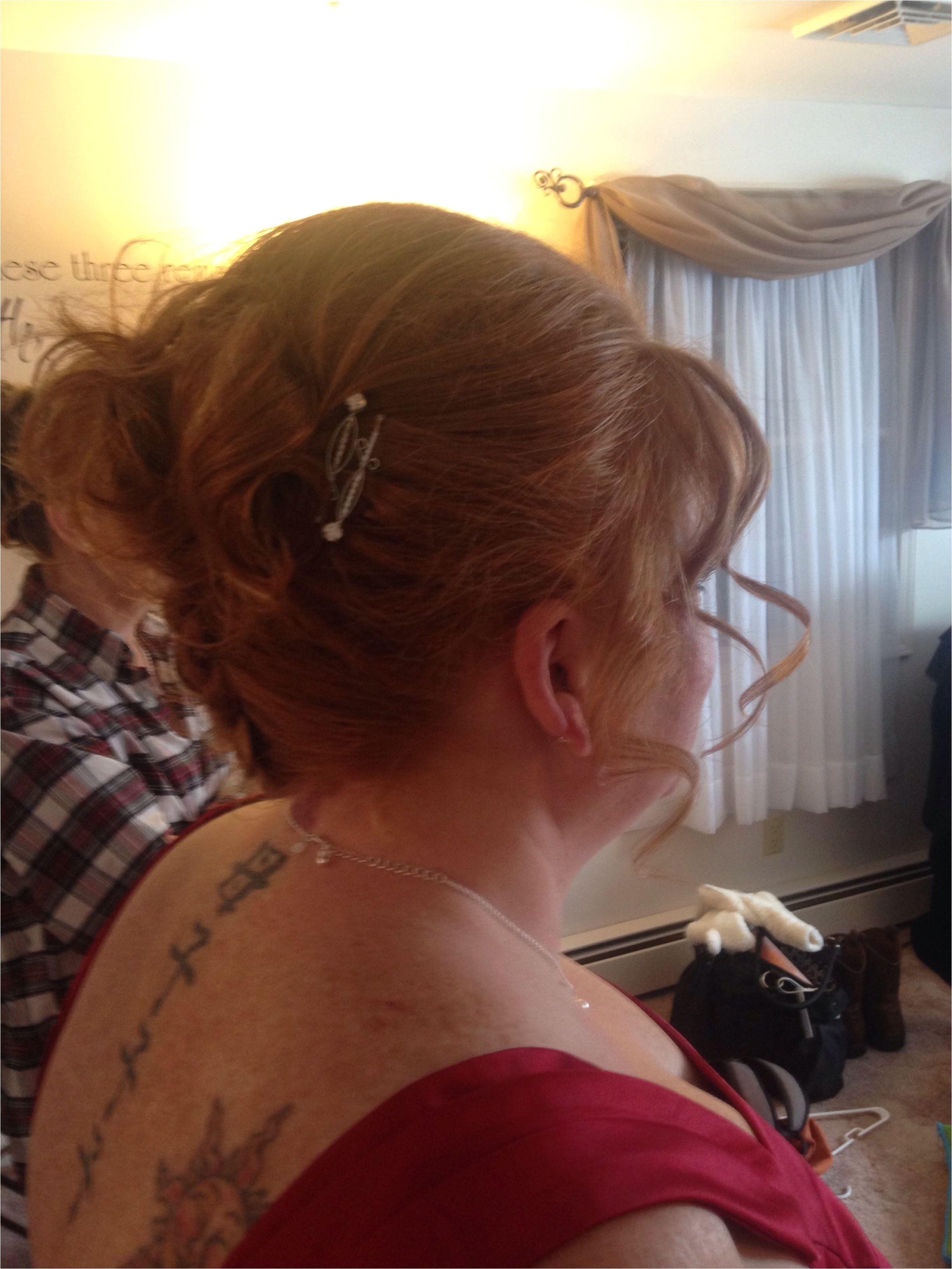 Side upside down French braid curls bridesmaid
