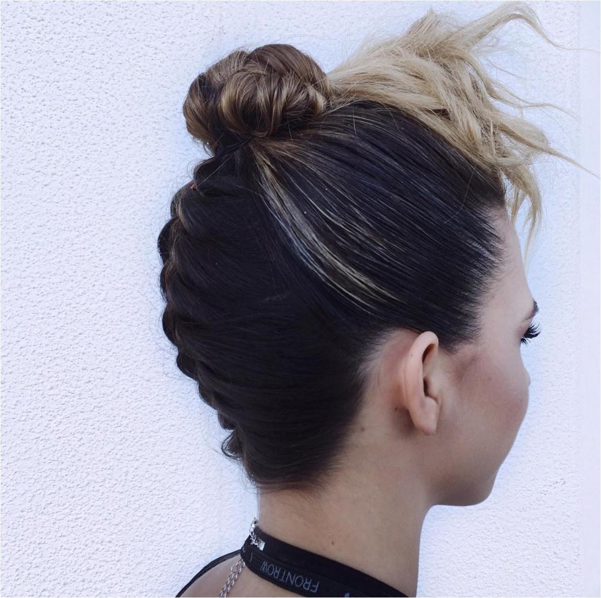 French Braid with Bun Hairstyles Hair by Jessica Ryland Upside Down French Braid Bun Faux Bangs