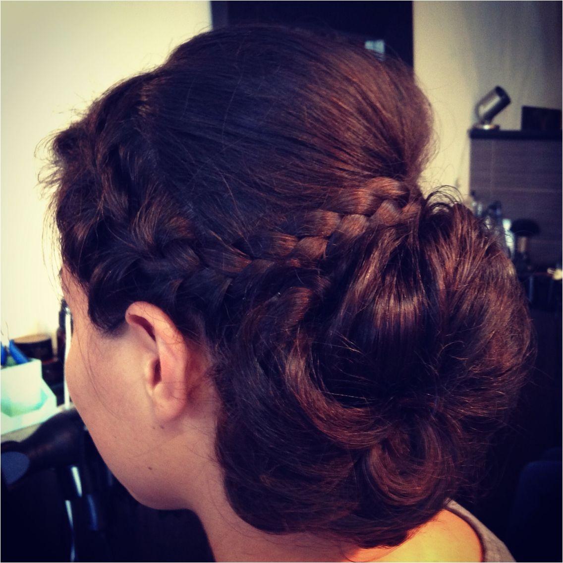 Halo braid sock bun French braid updo wedding hair by Soma Hair