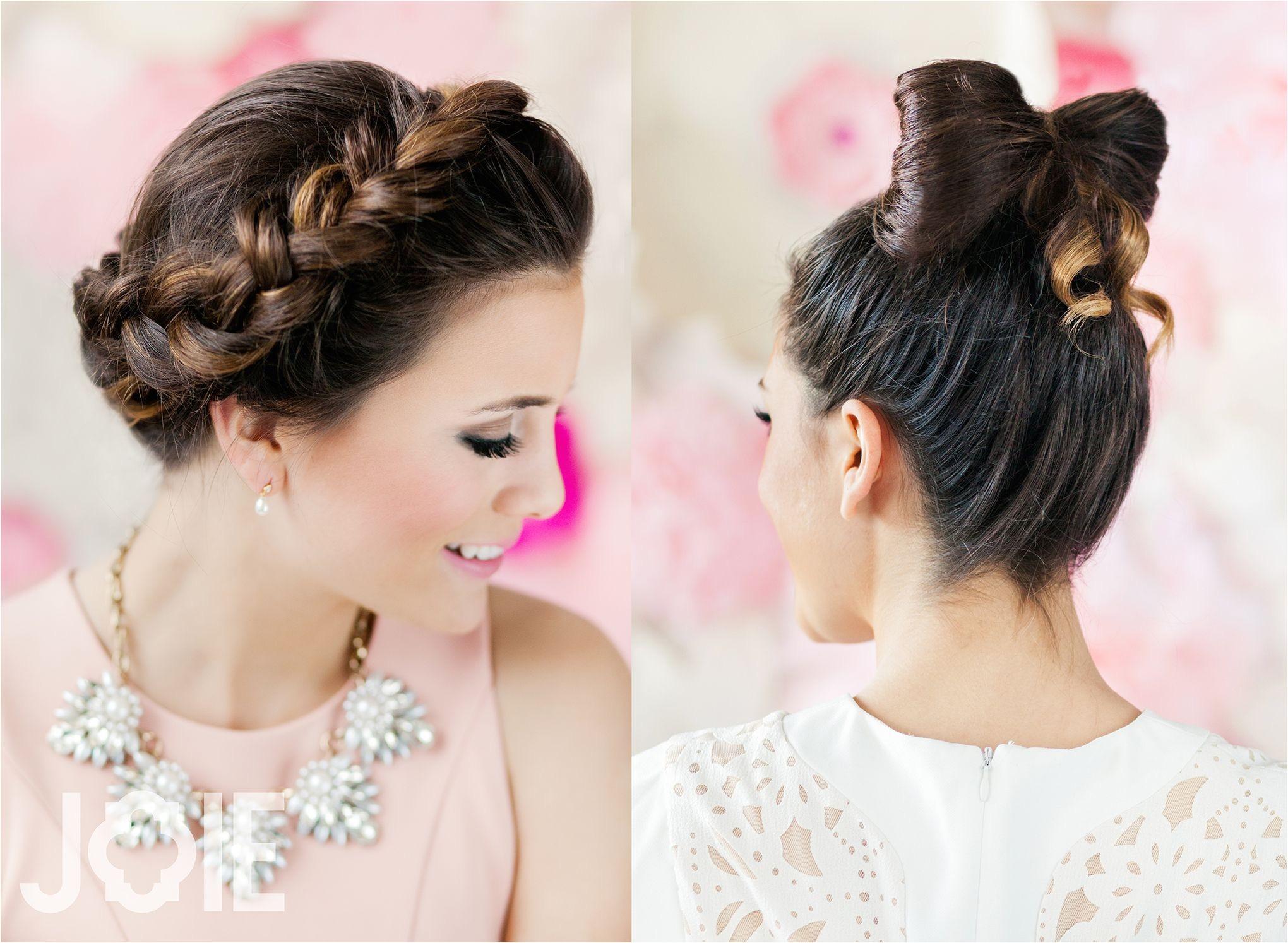 Bow hair Crown Braid High School girl Valentine s Day Shoot ideas Hair styles Creative hair styles Natural light studio session