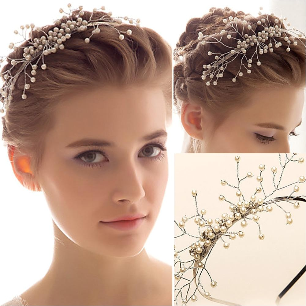 Exquisite Bridal Headbans Pearls Simple Wedding Accessories New Year Girls Gifts Hair Accessories Tiaras Head Pieces Head Band For Bride WWL Bridal