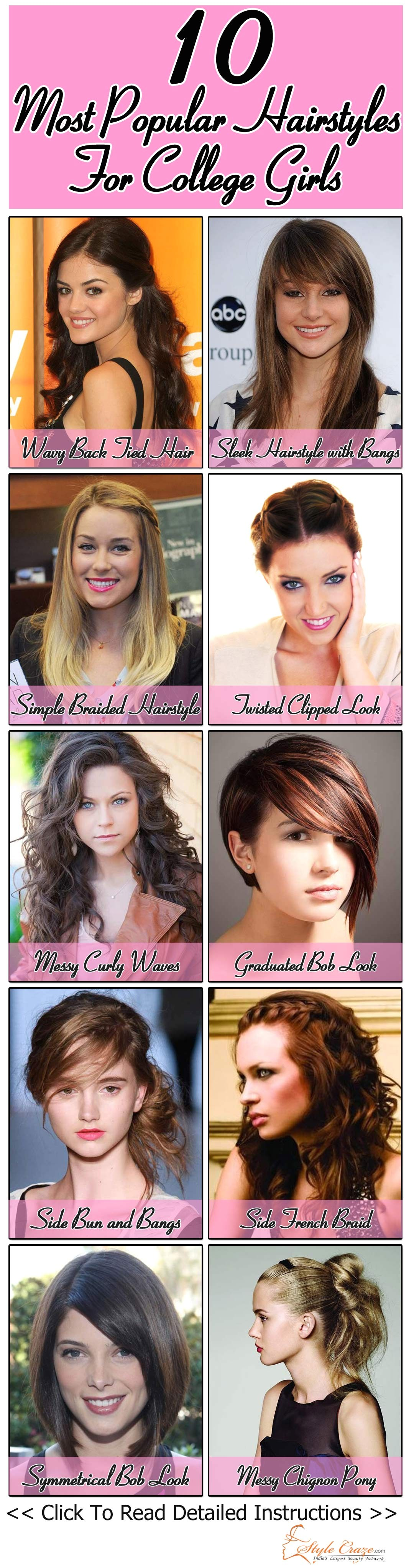 10 Most Popular Hairstyles For College Girls… Some can be used for natural curls