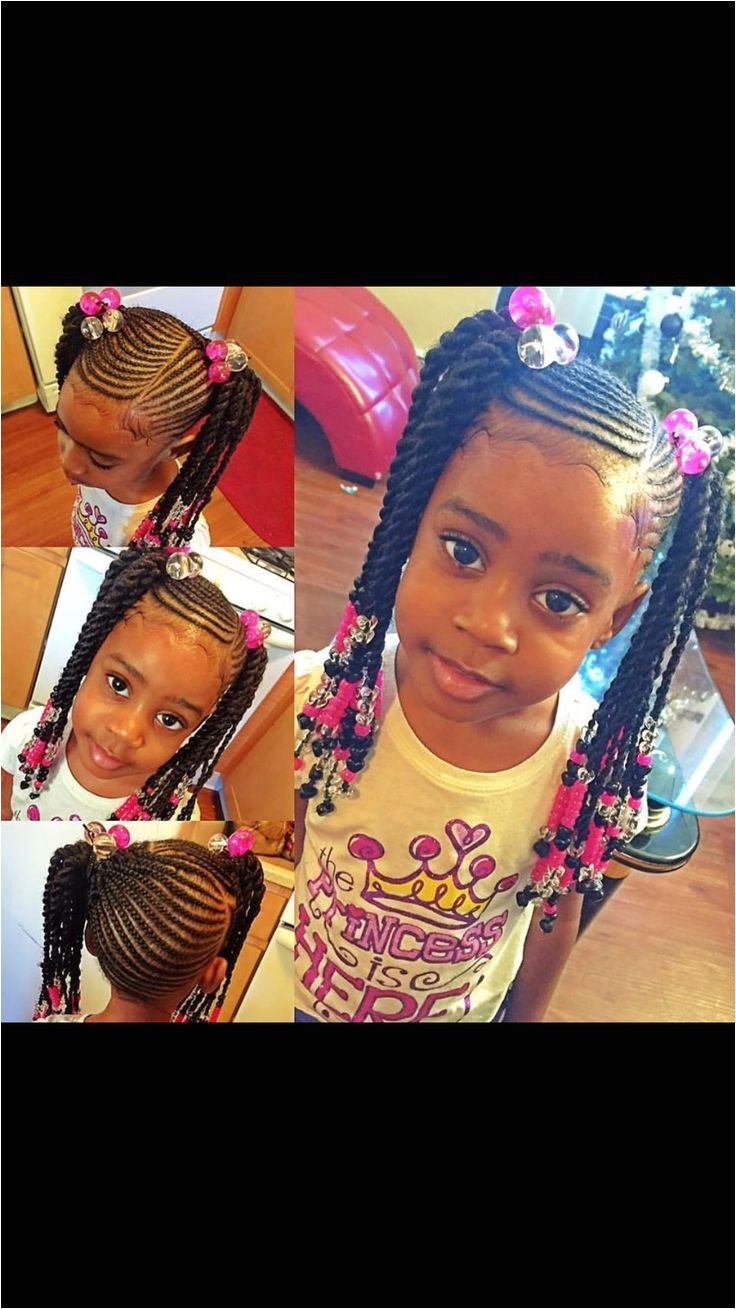 Adorable cornrow pony tails with off center part