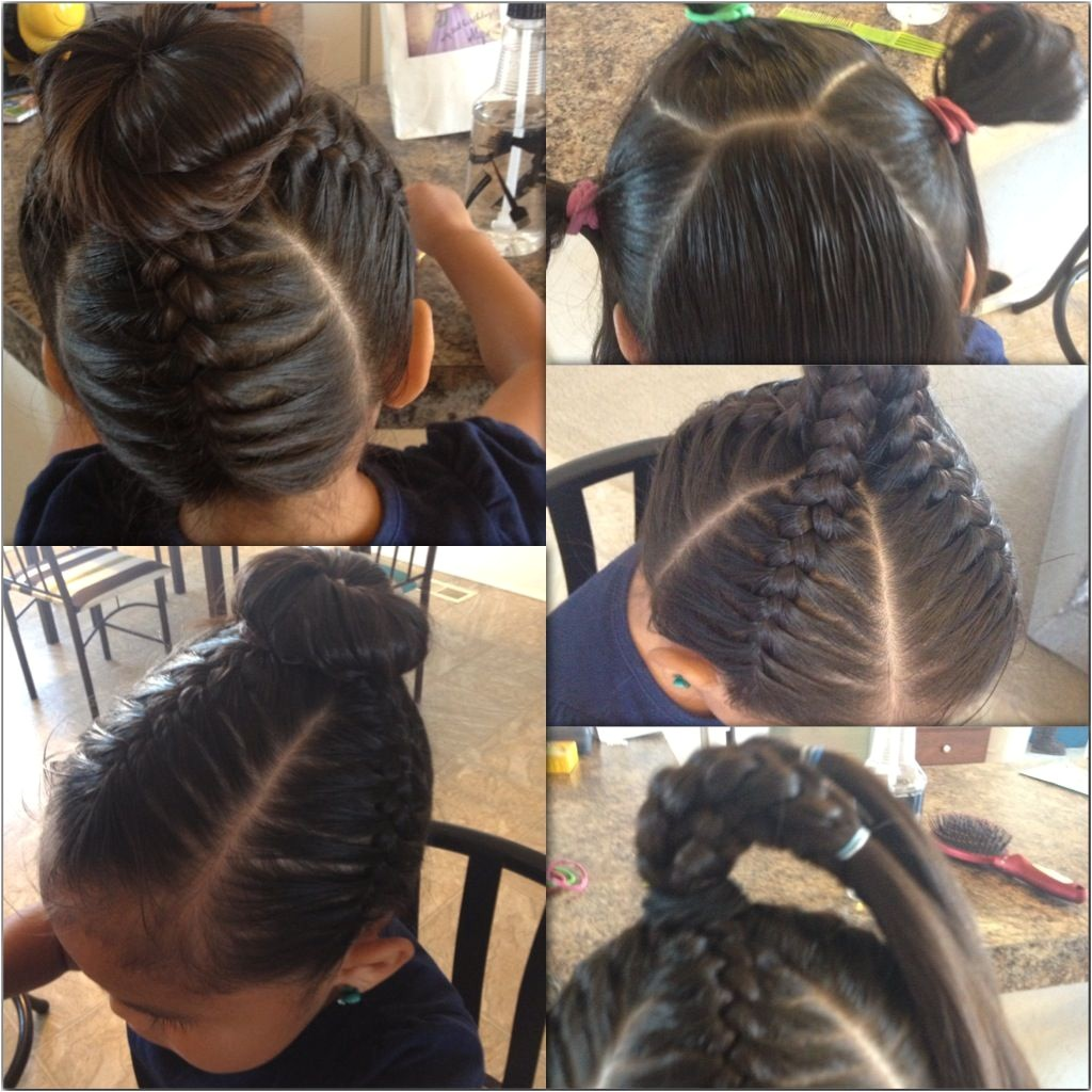 Nothing is Cuter than this little girl hair style Braids and a bun on top Simple