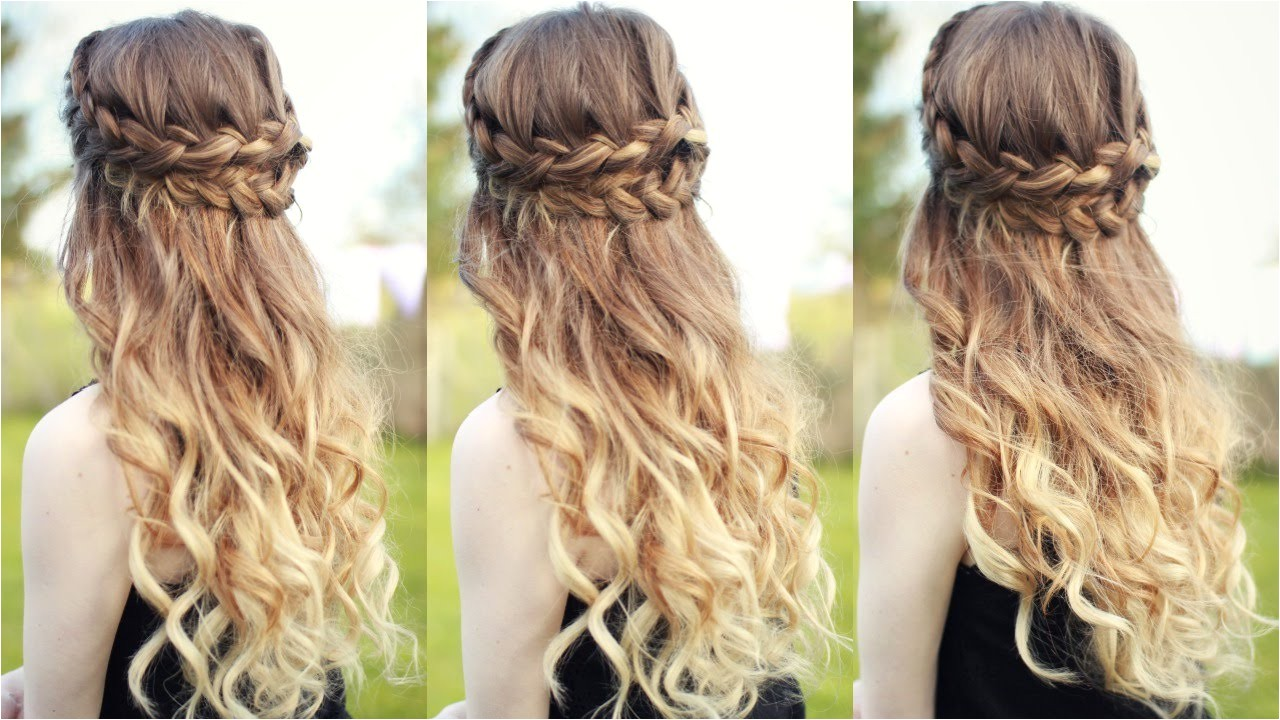 curly half updo hairstyles beautiful half down half up braided hairstyle with curls half