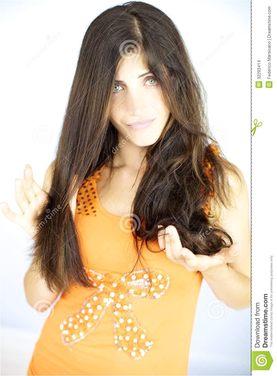 stock images woman showing half head straight hair other half wavy two different hairstyles one image