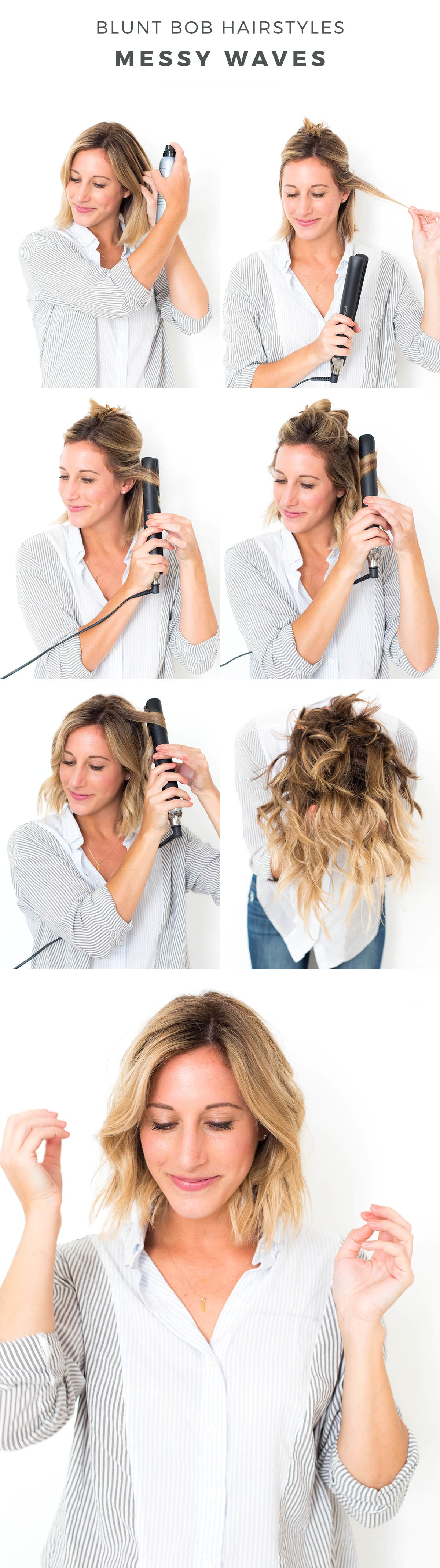 blunt bob hairstyles messy waves
