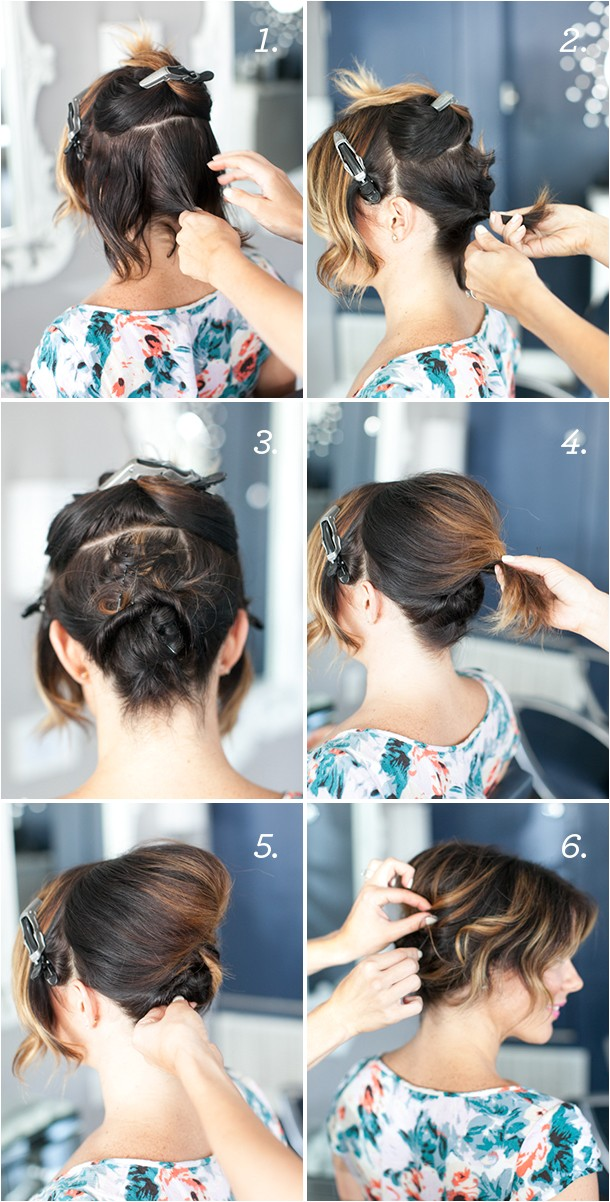 pretty simple updo for short hair