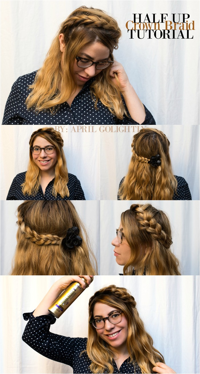 Half Up Crown Braid Tutorial for Short Hair with Suave Professional Volume products StyleItYourself ad