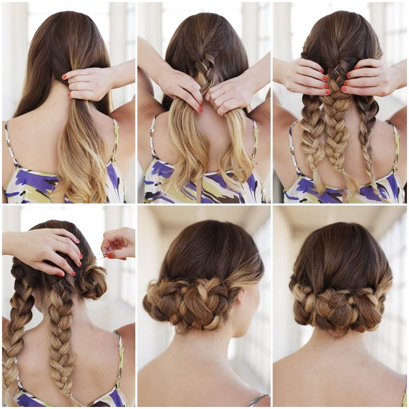 creative ideas diy easy braided updo hairstyle